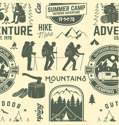 Summer camp seamless pattern or background vector