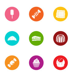Sweetener icons set flat style vector