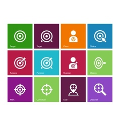 Target icons on color background vector image