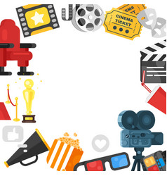 template design with colorful movie elements vector image