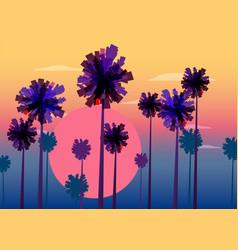 tropical sunrise at seashore sea landscape with vector image