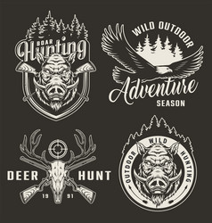 vintage monochrome hunting logotypes vector image