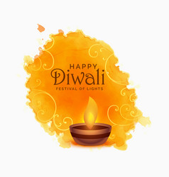 watercolor happy diwali festival background vector image