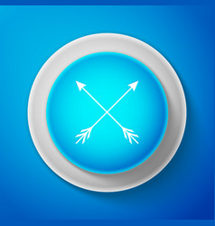 White crossed arrows icon on blue background vector