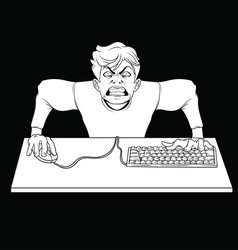 White outline drawing of an angry gamer at the vector