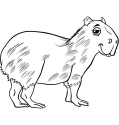 capybara animal cartoon coloring page vector image