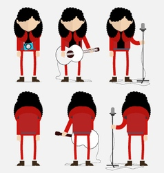 Curly hair musician in red vector image vector image