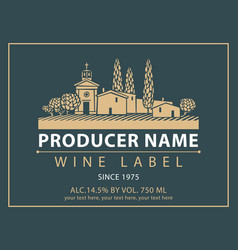 label for wine with village with a vineyard vector image vector image