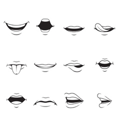 Mouths set with various expressions monochrome vector