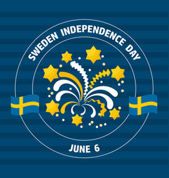 sweden independence day label on blue vect vector image