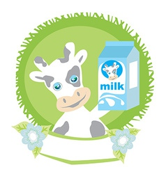 sweet cow with milk vector image vector image