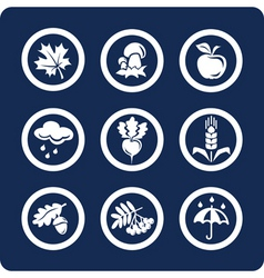 autumn icons vector image vector image