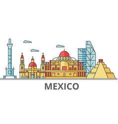 mexico city skyline buildings streets vector image