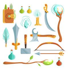 set of fantasy magic weapons vector image vector image