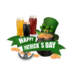 the green hat three kinds of beer pot with coins vector image vector image