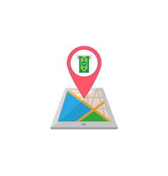 atm terminal map pointer flat icon mobile gps vector image vector image