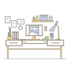 line art workplace in flat style vector image vector image