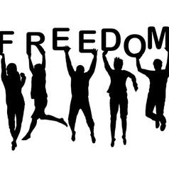 People silhouettes jumping and holding the letters vector image