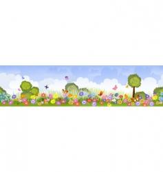 seamless flower fields vector image