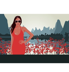 Red lips Red Flowers vector image