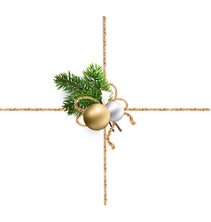 ribbons of burlap rope for christmas decorations vector image vector image
