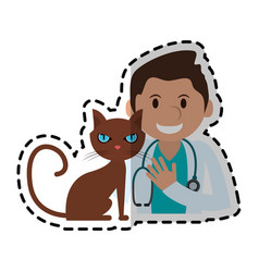 veterinarian with pet icon image vector image vector image