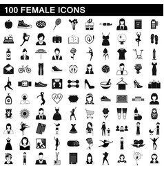 100 female icons set simple style vector image