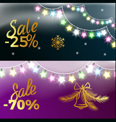 25 and -70 sale new year vector image
