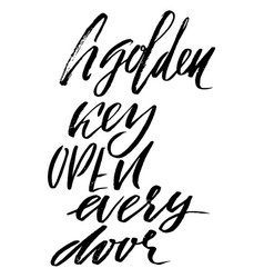 A golden key open every door hand drawn lettering vector