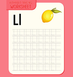 Alphabet tracing worksheet with letter l and l vector