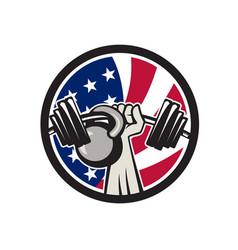 American hand barbell kettlebell usa flag vector