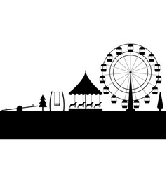amusement park black contour of a ferris wheel vector image