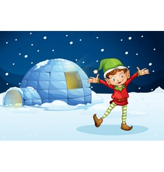 an elf and an igloo vector image