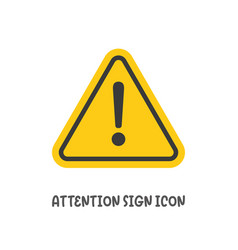 Attention sign icon simple flat style vector