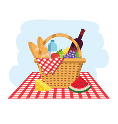 basket with breads and water bottles in the vector image