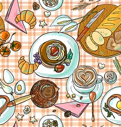 beautiful hand-drawn simpless pattern breakfast vector image