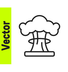 Black line nuclear explosion icon isolated vector