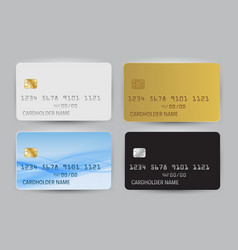 Black white gold and blue wave bank card blank vector