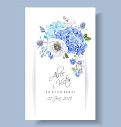 Blue invitation card vector
