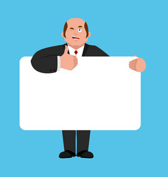 businessman holding banner blank boss and white vector image
