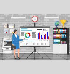 Businesswoman giving presentation vector