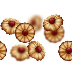 buttery cookies with red jam seamless background vector image