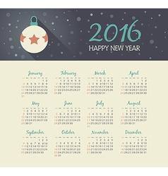 Calendar 2016 year with christmas ball vector