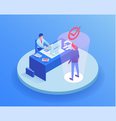 candidate at job interview isometric vector image