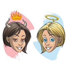 cartoon devil and angel girl with horns and nimbus vector image