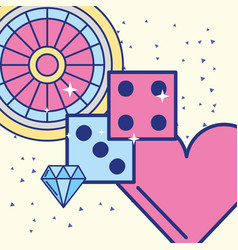 casino roulette dices diamond heart image design vector image
