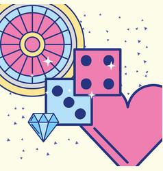 Casino roulette dices diamond heart image design vector