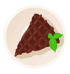 chocolate cake icon cartoon style vector image