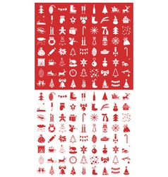 Christmas icons on a red and white vector image