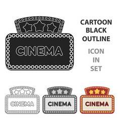 cinema signboard icon in cartoon style isolated on vector image vector image